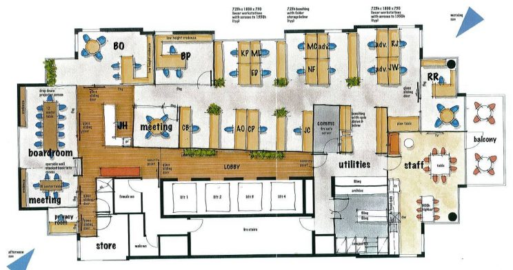 blueprints-for-planning-space-of-office